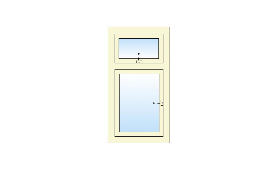 Technische tekening  Draai kiep-bovenlicht kiep kozijn
