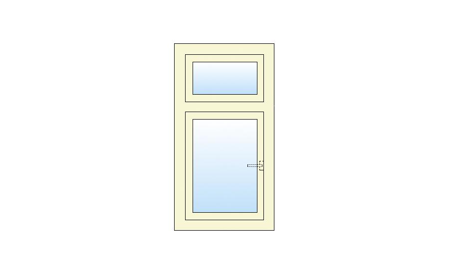 Technische tekening Draai kiep- vast bovenlicht kozijn